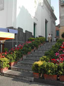 The steps of the church in the square
